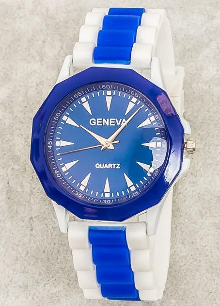 Zegarek damski na wygodnym silikonowym pasku biało-granatowy