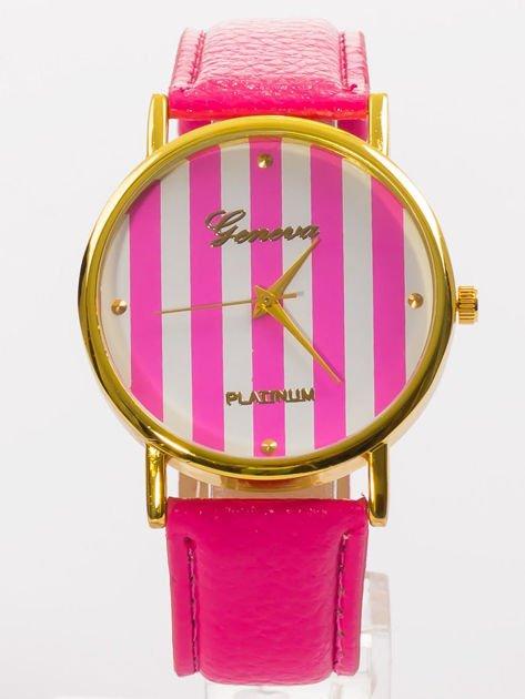 Zegarek damski różowy z tarczą w paski