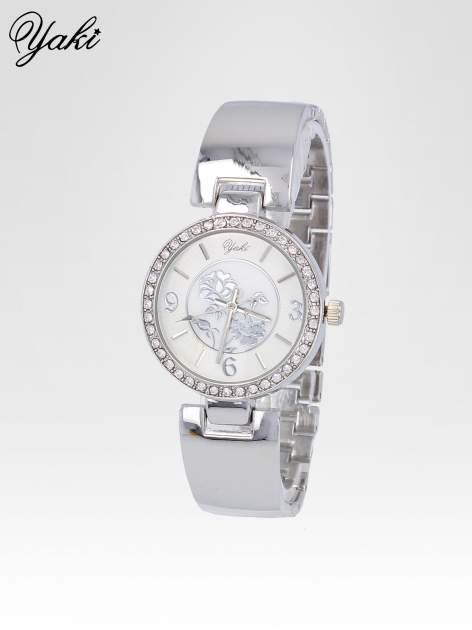 Zegarek damski z cyrkoniami na srebrnej bransolecie                                  zdj.                                  2