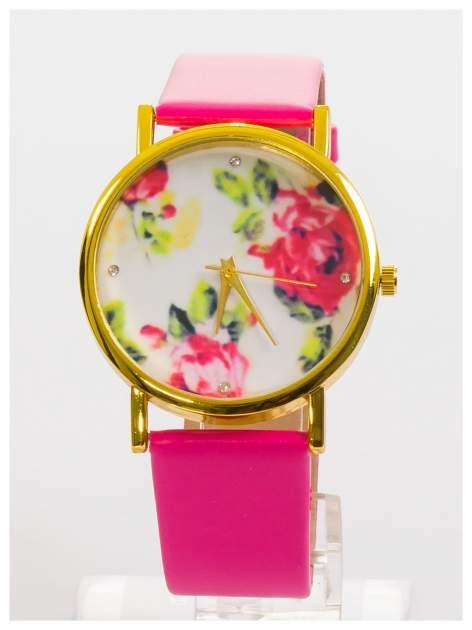 Zegarek damski z kwiatami na tarczy i cyrkoniami                                  zdj.                                  1
