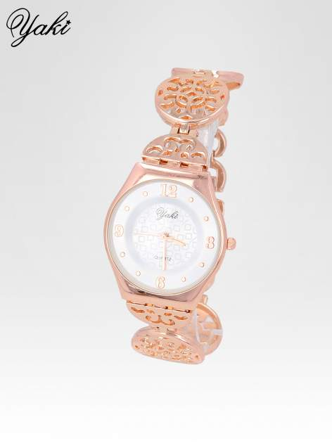 Zegarek damski z różowego na ażurowej bransolecie                                  zdj.                                  2