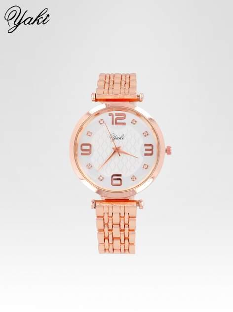 Zegarek damski z różowego złota na bransolecie z dużą białą tarczą                                  zdj.                                  1