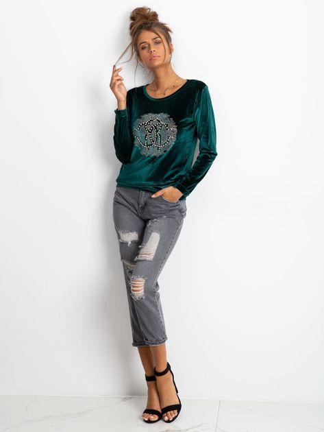 Zielona aksamitna bluza damska z aplikacją                              zdj.                              4