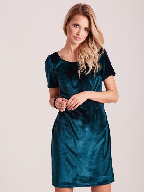 Zielona aksamitna sukienka PLUS SIZE                              zdj.                              1