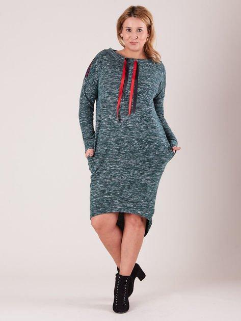 Zielona asymetryczna sukienka PLUS SIZE                              zdj.                              1