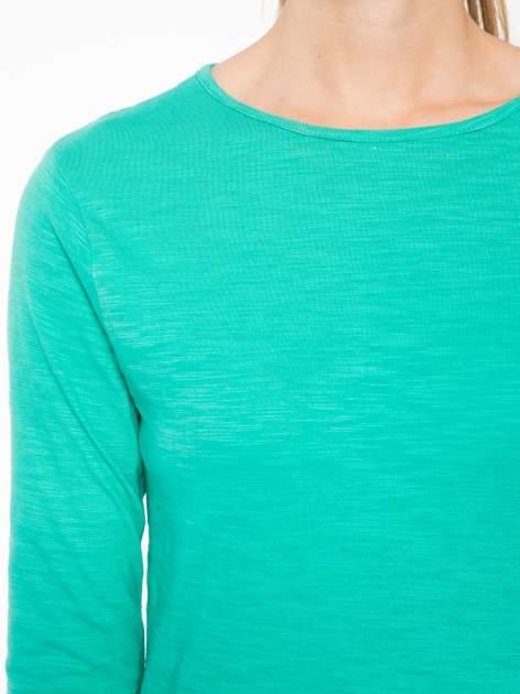 Zielona bawełniana bluzka typu basic z długim rękawem                                  zdj.                                  5