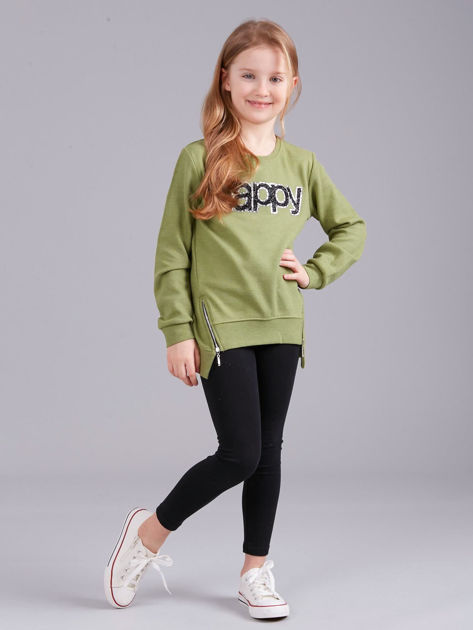 Zielona bluza dziewczęca z aplikacją                              zdj.                              4