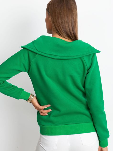 Zielona bluza z miękkim kołnierzem                              zdj.                              2