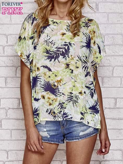 Zielona bluzka koszulowa z motywem exotic print