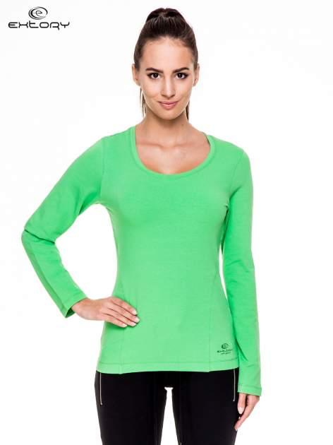 Zielona bluzka sportowa z dekoltem U                                  zdj.                                  1