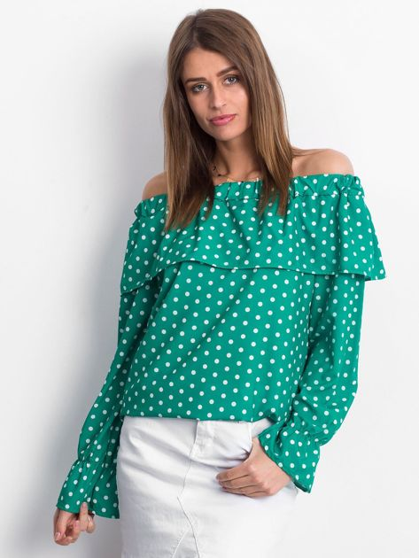 Zielona bluzka w grochy z hiszpańskim dekoltem                              zdj.                              1
