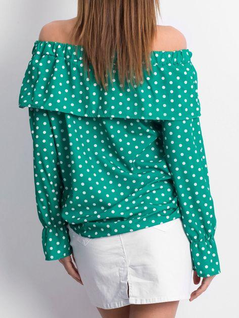 Zielona bluzka w grochy z hiszpańskim dekoltem                              zdj.                              2