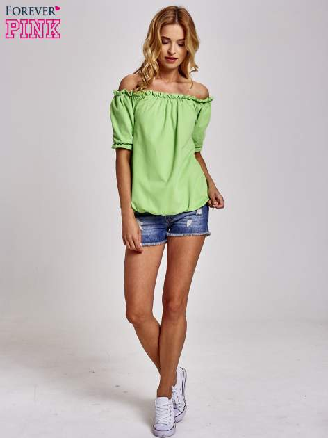 Zielona bluzka z odkrytymi ramionami                                  zdj.                                  2