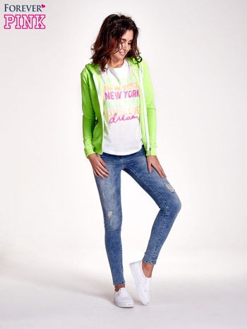 Zielona gładka bluza z kapturem                                  zdj.                                  4