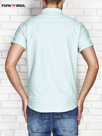 Zielona koszula męska z kontrastową kieszonką FUNK N SOUL                              zdj.                              2