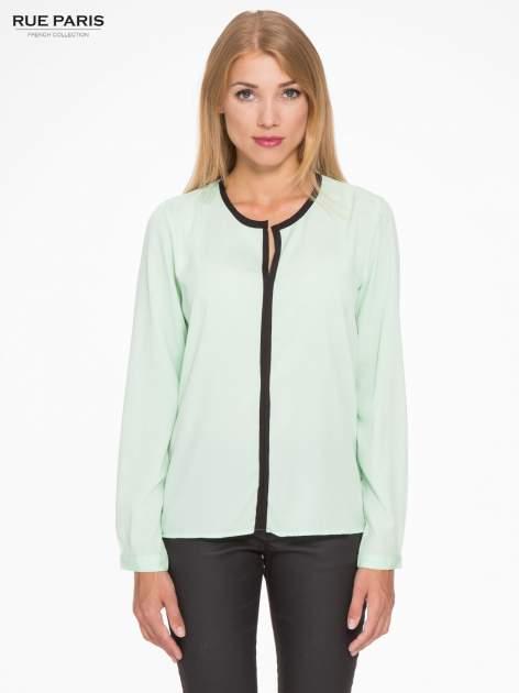 Zielona koszula z kontrastową listwą