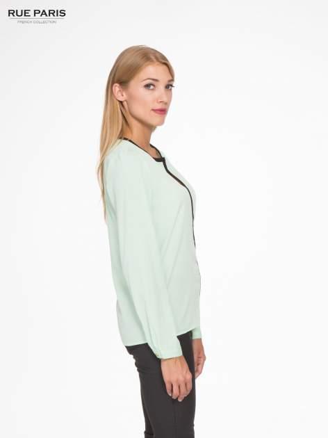 Zielona koszula z kontrastową listwą                                  zdj.                                  3