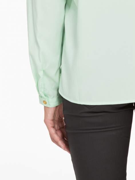 Zielona koszula z kontrastową listwą                                  zdj.                                  10