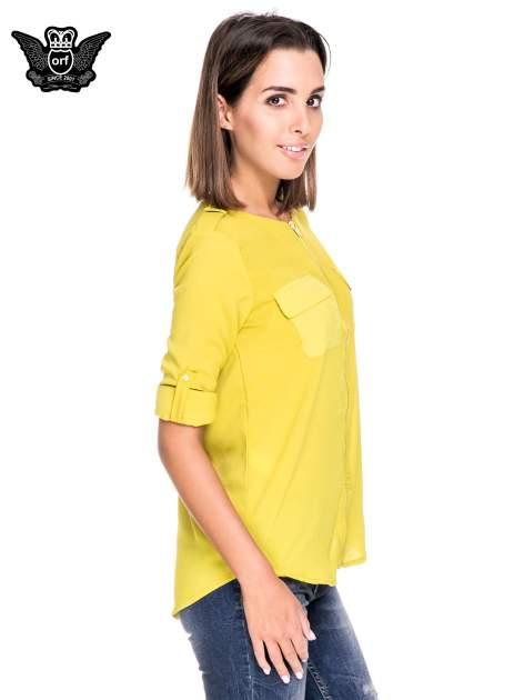 Zielona koszula ze złotym suwakiem i kieszonkami                                  zdj.                                  5