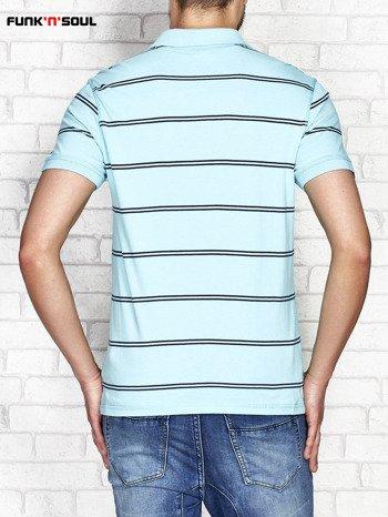 Zielona koszulka polo męska w paski FUNK N SOUL