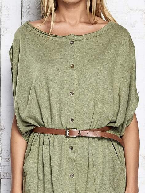 Zielona melanżowa sukienka oversize z guzikami                                  zdj.                                  6