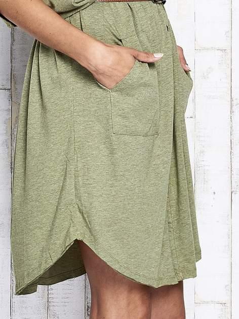 Zielona melanżowa sukienka oversize z guzikami                                  zdj.                                  8