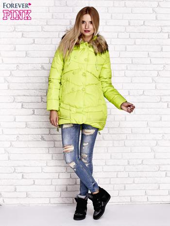 Zielona ocieplana kurtka z guzikami i suwakami                                  zdj.                                  8