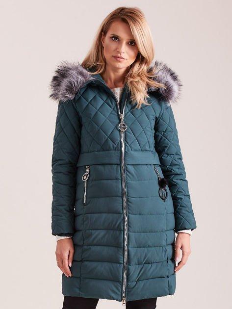 Zielona pikowana kurtka zimowa                              zdj.                              1