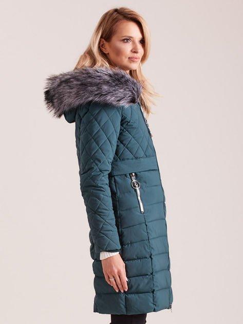 Zielona pikowana kurtka zimowa                              zdj.                              3