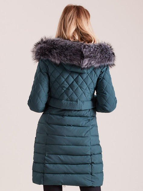 Zielona pikowana kurtka zimowa                              zdj.                              2