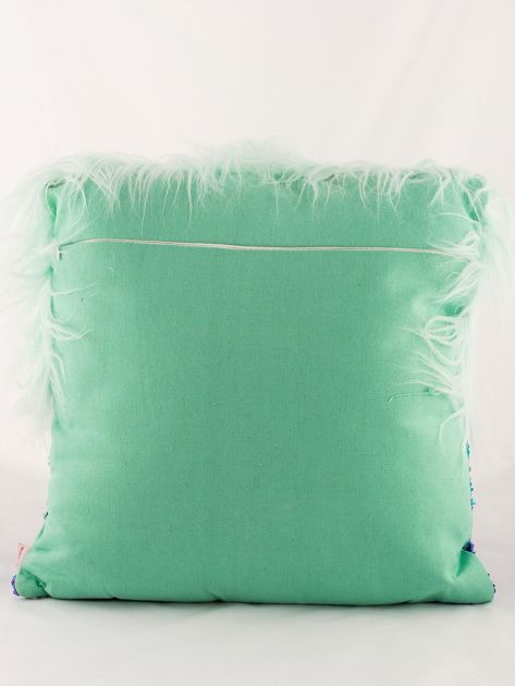 Zielona poduszka z długim włosem i cekinami                              zdj.                              5