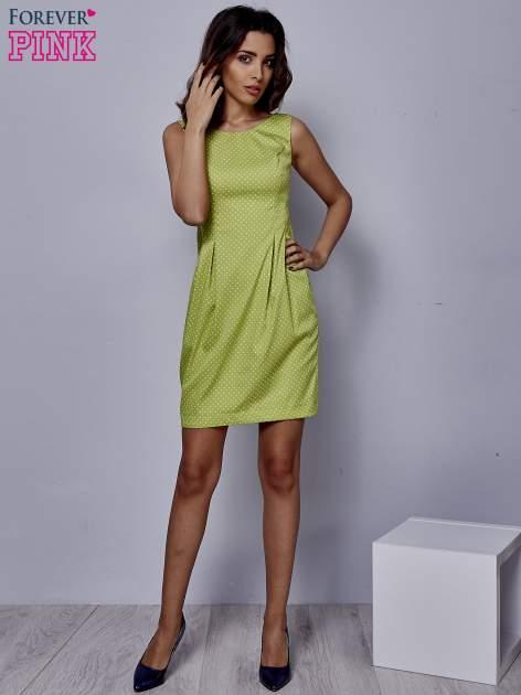 Zielona rozkloszowana sukienka w groszki                                  zdj.                                  2