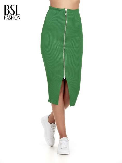 Zielona spódnica midi z suwakiem z przodu