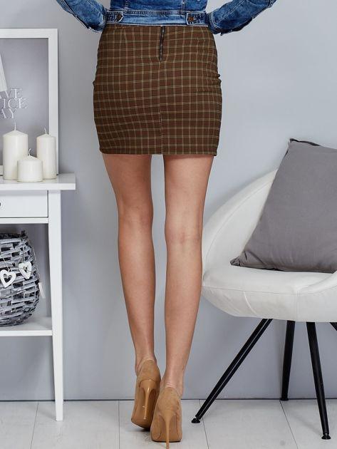 Zielona spódnica mini we wzór kratki                              zdj.                              2