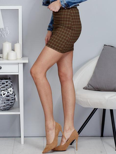 Zielona spódnica mini we wzór kratki                              zdj.                              3