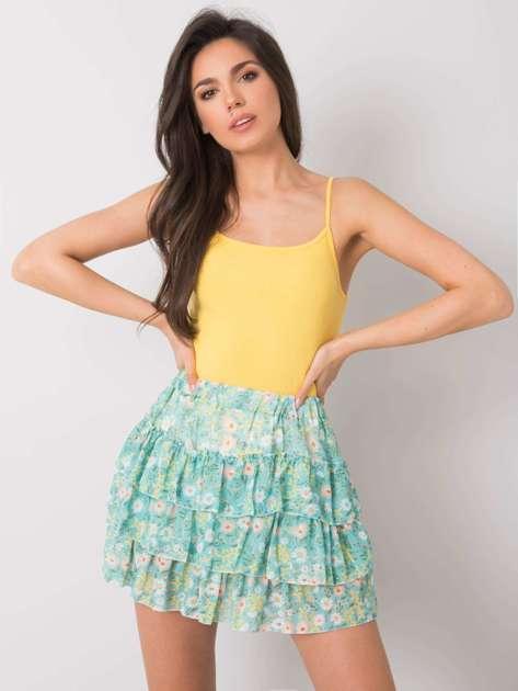 Zielona spódnica z falbanami Leonor