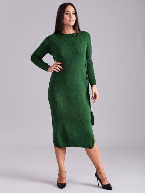 Zielona sukienka dzianinowa z bocznym sznurowaniem                              zdj.                              1