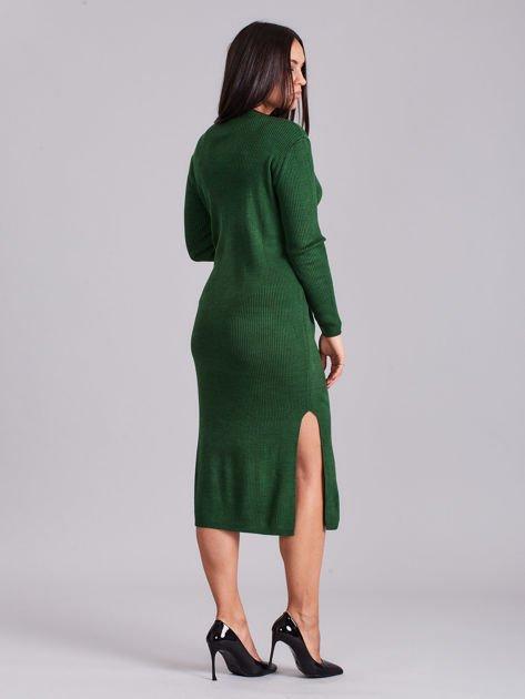 Zielona sukienka dzianinowa z bocznym sznurowaniem                              zdj.                              2