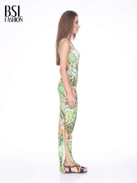 Zielona sukienka maxi w egzotyczny nadruk palm                                  zdj.                                  3