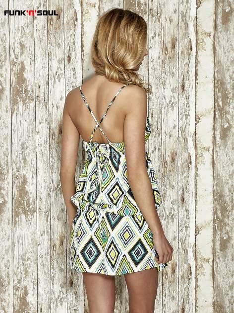 Zielona sukienka na gumkę w geometryczne wzory Funk n Soul                                  zdj.                                  3