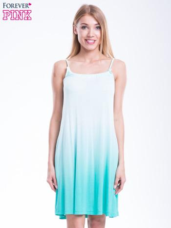 Zielona sukienka na ramiączka z efektem ombre