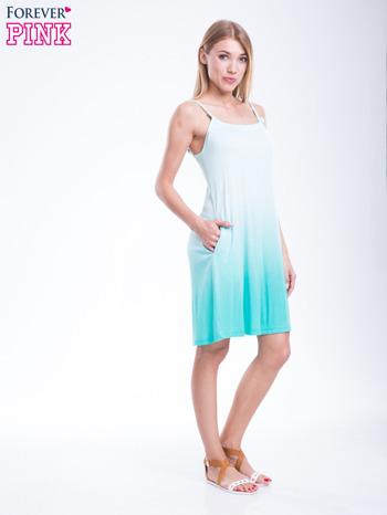 Zielona sukienka na ramiączka z efektem ombre                              zdj.                              5