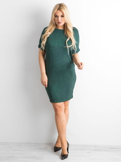 Zielona sukienka z delikatnym połyskiem PLUS SIZE                              zdj.                              4