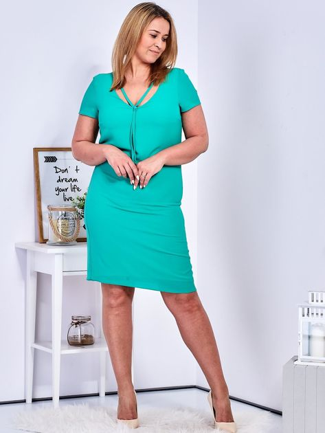 Zielona sukienka z ozdobnym wiązaniem PLUS SIZE                              zdj.                              5