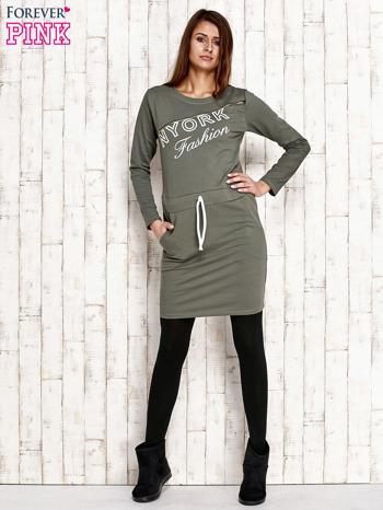 Zielona sukienka z wiązaniem                                   zdj.                                  4