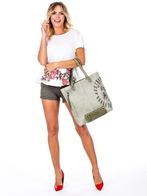 Zielona torba z nadrukiem                               zdj.                              1