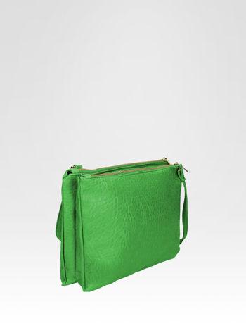 Zielona torebka dwukomorowa z paskiem                                  zdj.                                  2