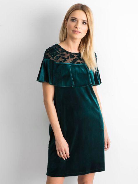 Zielona welurowa sukienka z falbaną                              zdj.                              1