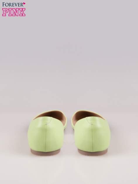 Zielone baleriny faux leather Cookie w szpic z wycięciem z boku                                  zdj.                                  3