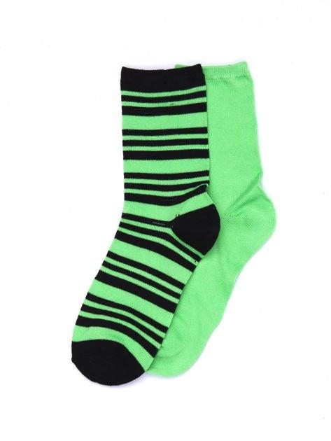 Zielone bawełniane skarpetki gładkie i w paski 2-pak                              zdj.                              1